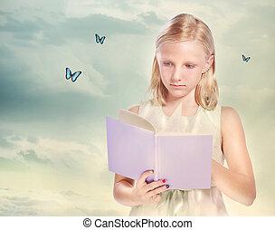 kevés, könyv, szőke, lány olvas