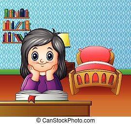 kevés, könyv, szoba, lány olvas
