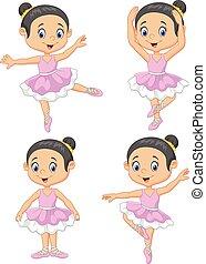 kevés, karikatúra, táncos, balett