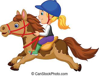 kevés, lovaglás, leány, póni, karikatúra, h