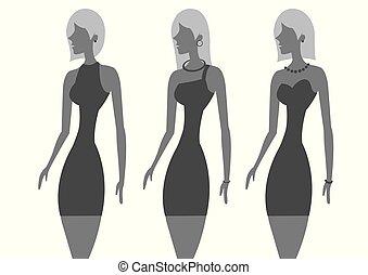 kevés, nő, mód, fekete, sikk, ruha
