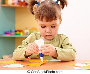 kevés, preschool, rajzóra, leány, mesterkedik