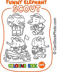 kevés, színezés, állhatatos, scout., könyv, csecsemő, elephant.