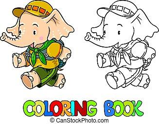 kevés, színezés, book., futás, felderítő, csecsemő, elephant.