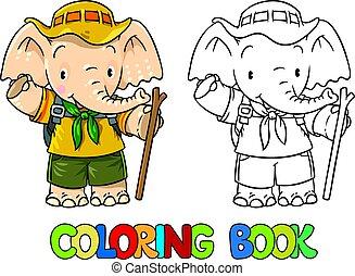 kevés, színezés, scout., book., csecsemő, elephant.
