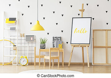 kevés, szoba, aloé, fából való, poszter, íróasztal, mockup, berendezés, sárga, következő, scandi, azt, dekoráció, gyermek, belső