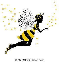 kevés, tündér, leány, méh
