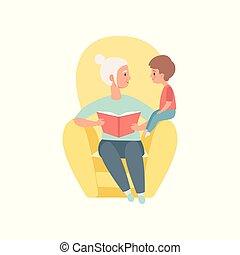 kevés, vektor, fiúunoka, neki, ülés, költés, karosszék, idő, ábra, fiúunoka, nagyanya, könyv, háttér, nagyanyó, fehér, felolvasás, játék