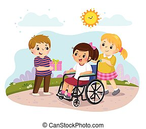 kevés, wheelchair., fiú, ajándék, ábra, vektor, odaad, meghibásodott, leány