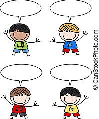 kevert, fiú, etnikai, gyerekek, boldog