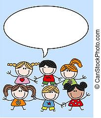 kevert, gyerekek, gyerekek, etnikai