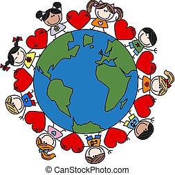 kevert, gyerekek, szeret, etnikai, boldog