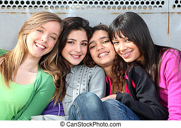 kevert, lány, mosolygós, faj, csoport