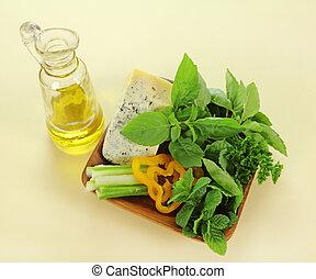 kevert, levél növényen, saláta