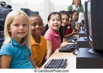 key), tanár, végek, számítógép, háttér, (depth, field/high, gyerekek