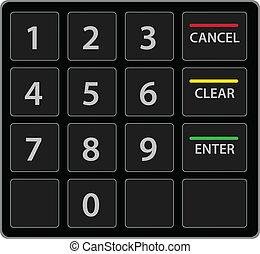 keypad, atm, elszigetelt, vektor, white., version.