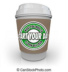 kezd, mi, csésze, ital, kávécserje, -e, elindít, csípős, szükség, ön, nap