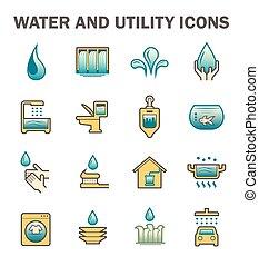 kezelés, ikon, víz