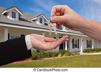 kezelő, kulcsok, épület, felett, új, elülső, otthon