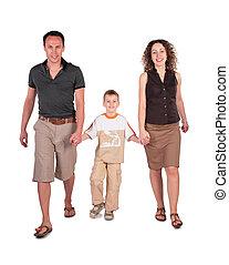 kezezés csatlakozik, fiú, atya, anya, jár, birtoklás
