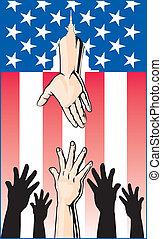 kezezés elér vmit, segítség, kormány