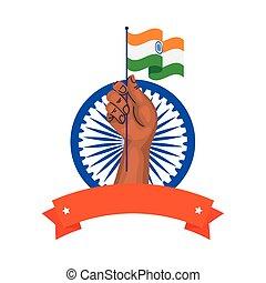 kezezés tol, háttér, india, indian lobogó, ashoka, fehér, kék, jelkép