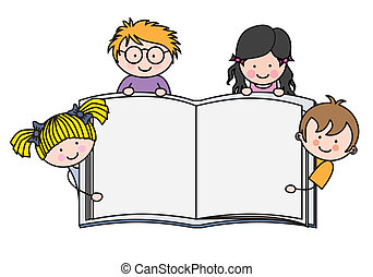 kiállítás, könyv, gyerekek, tiszta