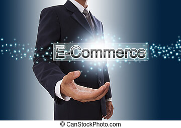 kiállítás, screen., tényleges, kéz, e-commerce, üzletember, gombol