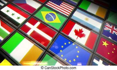 kiállítás, zászlók, kollázs, árnyékol