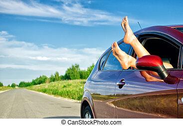 ki, autó, combok, ablak., fogalom, gondtalan, trip., furcsa, woman's