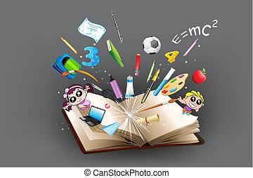 ki, cél, oktatás, könyv, érkező