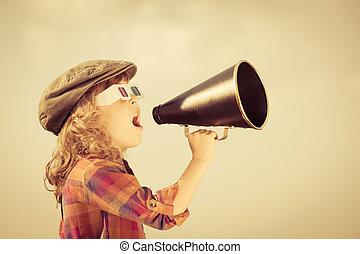 kiabálás, gyermek, hangszóró, át, szüret
