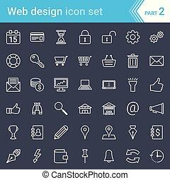 kialakulás, szövedék icons, modern, elszigetelt, sötét, háttér., seo, tervezés, ütés
