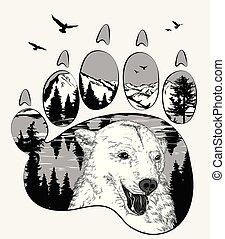 kicsapongó élet, fogalom, megkettőz, hord, -e, vadon, trail., állat, tervezés, kitevés