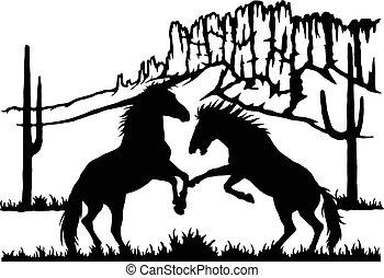 kicsapongó élet, mének, -, küzdelem, stencils, lovak, körvonal, vektor