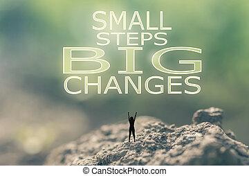 kicsi, átalakul, lépések, nagy