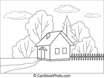kicsi épület, erdő, él, körvonal
