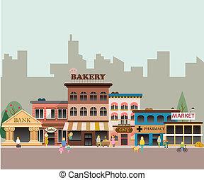 kicsi, épületek, ügy