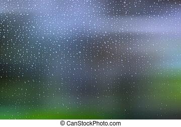 kicsi, esőcseppek, ablak
