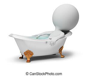 kicsi, fürdőkád, -, 3, emberek