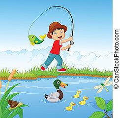 kicsi fiú, halászat, karikatúra