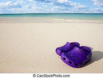 kicsi, homok, gyerekek, tengerpart, csizma
