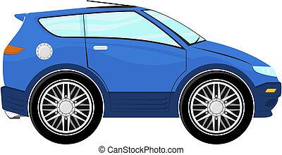 kicsi, kék, karikatúra, autó