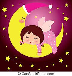 kicsi lány, ábrándozás, hold