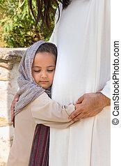 kicsi lány, ölelgetés, jézus