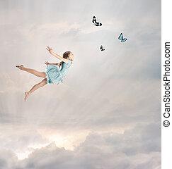kicsi lány, repülés, félhomály
