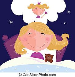 kicsi, leány, ábrándozás, alvás