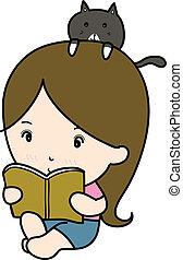 kicsi, leány, könyv, felolvasás, karikatúra