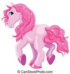 kicsi, rózsaszínű, póni