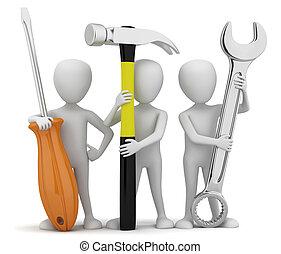 kicsi, repairers., 3, emberek